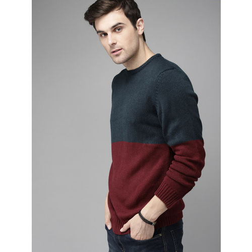 Roadster Men Navy Blue & Maroon Colourblocked Pullover Sweater