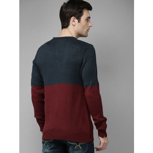 Roadster Men Navy Blue & Maroon Colourblocked Pullover Sweater