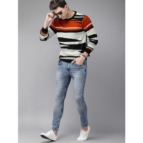 Roadster Men Grey & Rust Orange Self Design Sweater