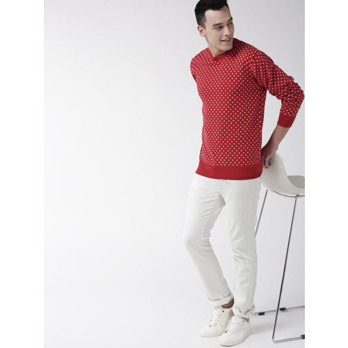 Mast & Harbour Men Red & Off-White Printed Sweater