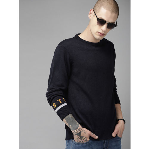 Roadster Men Navy Blue Solid Sweater