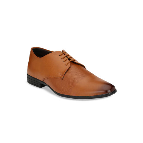 Ferraiolo Men Tan Brown Textured Formal Derbys