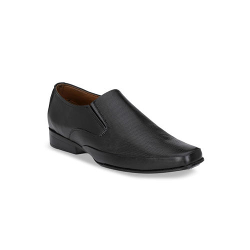 Rodolfo Darrell Men Black Textured Leather Formal Slip-On Shoes
