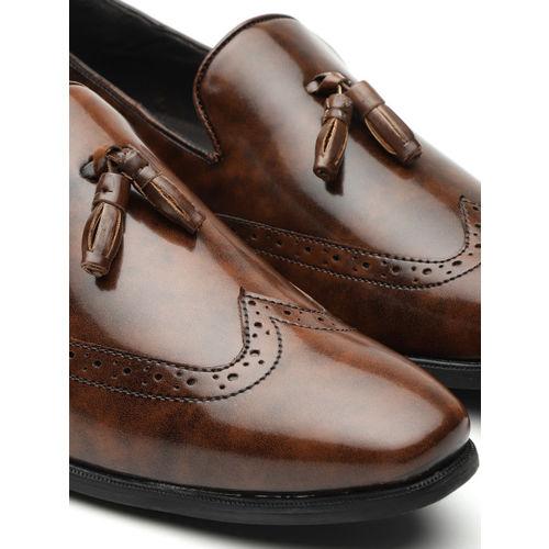 INVICTUS Men Brown Solid Tasselled Semiformal Slip-Ons