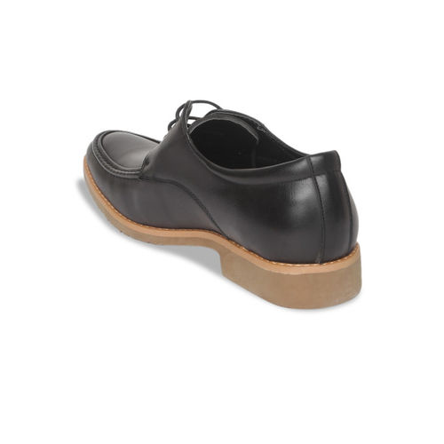 Arrow Men Black Solid Leather Derbys