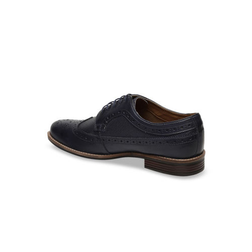 Arrow Men Navy Blue Textured Leather Brogues