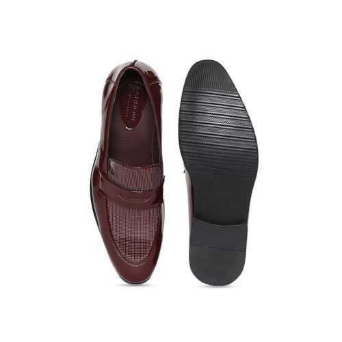 Arrow Men Burgundy Printed Leather Formal Penny Loafers