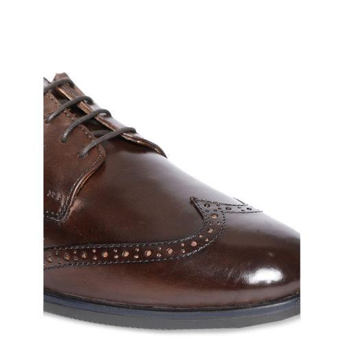 Arrow Men Brown Solid Leather Formal Brogues