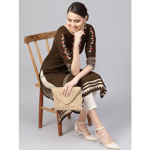Libas Women Brown & Beige Printed Straight Kurta