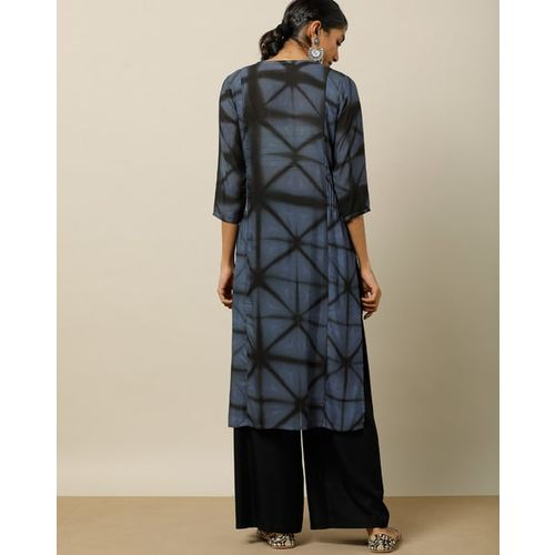 Indie Picks Hand Tie & Dye Straight Kurta with Zari Stitch Details