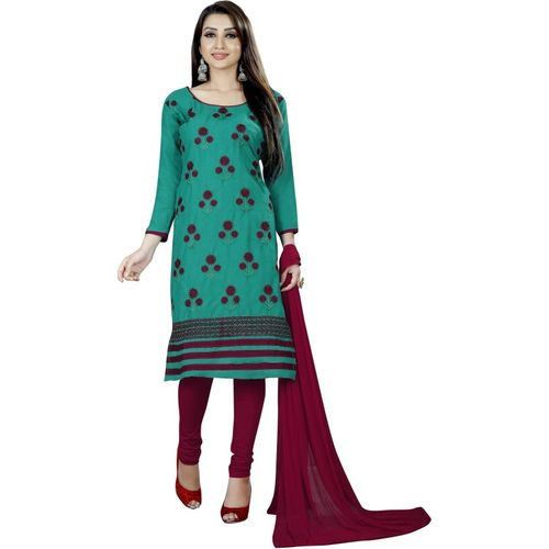 Smart Products Cotton Embroidered Kurta & Churidar Material(Unstitched)