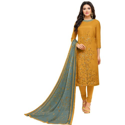 Oomph! Cotton Polyester Blend Embroidered Salwar and Dupatta Material(Semi Stitched)
