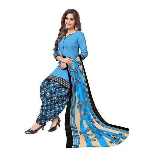 Saara Crepe Checkered, Floral Print, Printed Salwar Suit Material(Unstitched)