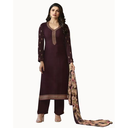 Febadditions Crepe Embroidered, Self Design, Solid Salwar and Dupatta Material(Semi Stitched)