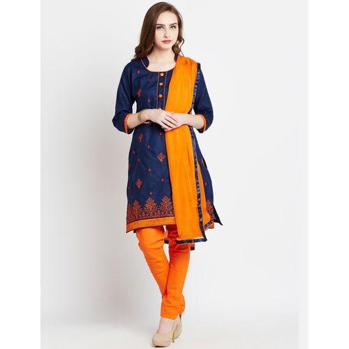 saiyaara fashion Cotton Silk Blend Embroidered Salwar Suit Material(Unstitched)