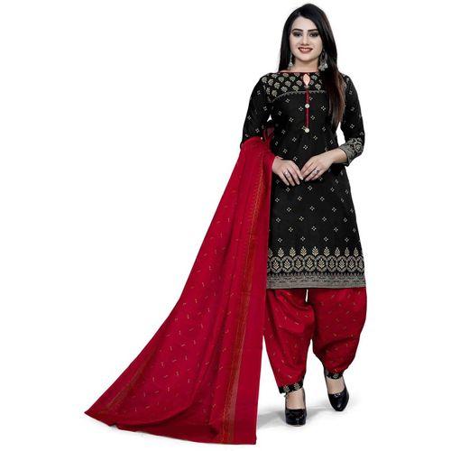 Navlik Cotton Self Design Salwar Suit Material(Semi Stitched)
