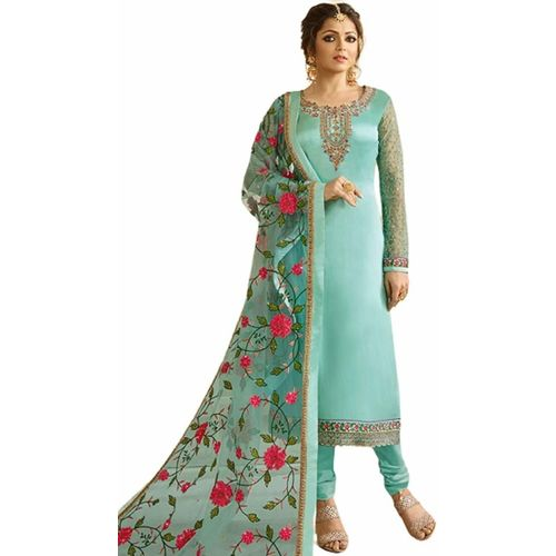 THE DENEZE HUB Georgette Embroidered Salwar Suit Material(Semi Stitched)