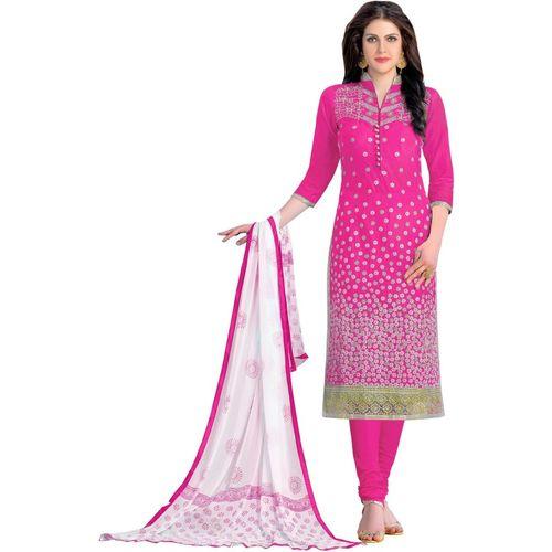 DnVeens Cotton Embroidered, Embellished Salwar Suit Material(Unstitched)