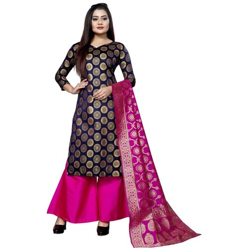 INDIAN CULTURE Jacquard Woven Kurta & Palazzo Material(Unstitched)