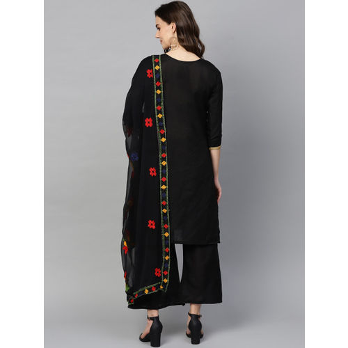 Ishin Black Embroidered Unstitched Dress Material