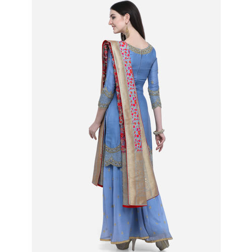Stylee LIFESTYLE Blue Satin Semi-Stitched Dress Material