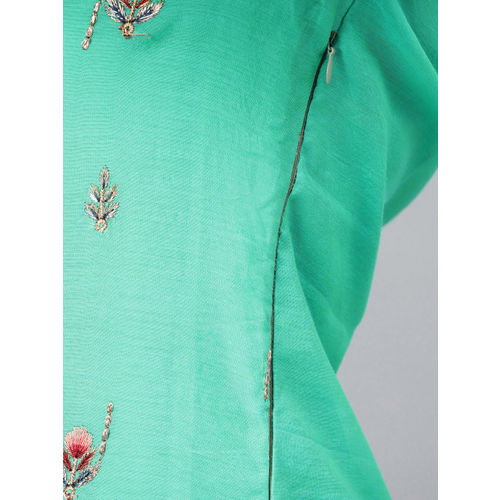 Inddus Green & Blue Embroidered Unstitched Dress Material