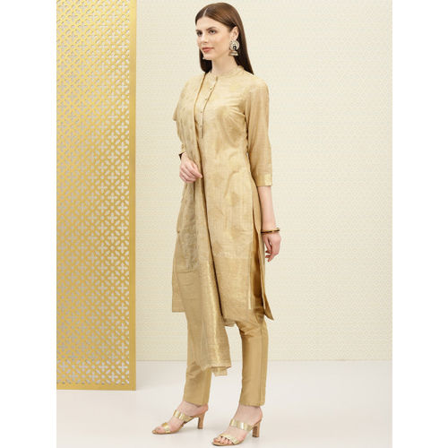 House of Pataudi Beige & Gold-Toned Polyester Unstitched Dress Material