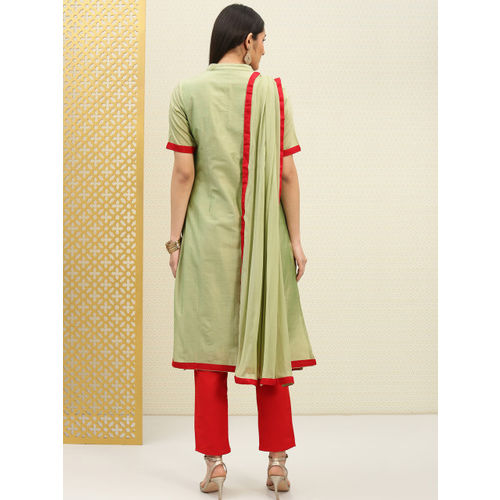 House of Pataudi Green & Red Embroidered Unstitched Dress Material
