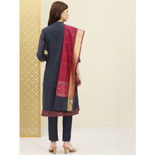 House of Pataudi Navy Blue & Maroon Embroidered Unstitched Dress Material