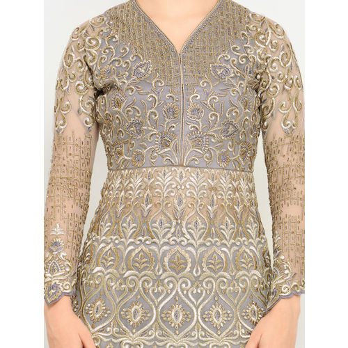 Stylee LIFESTYLE Grey Net Semi-Stitched Dress Material