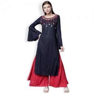 Vishudh Women Solid Straight Kurta(Dark Blue)