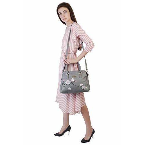 Lapis O Lupo Flower Embroidery Women Handbag (Grey)