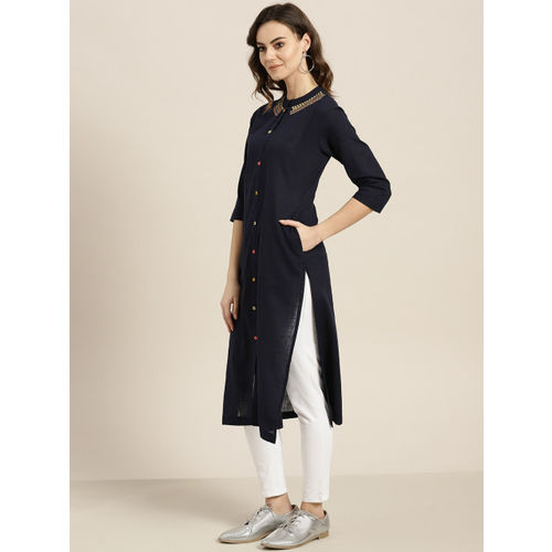 Sangria Women Navy Blue Solid Straight Kurta