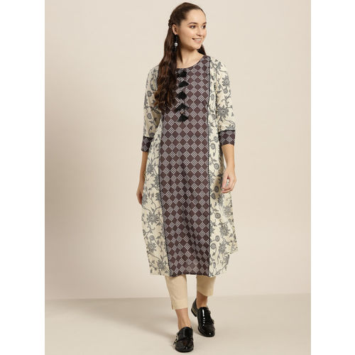 Sangria Women Charcoal Grey & Off-White Printed Straight Kurta