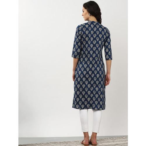 Sangria Women Navy Blue & Off White Printed Straight Kurta