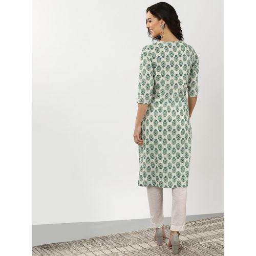 Sangria Women White & Green Printed Straight Kurta
