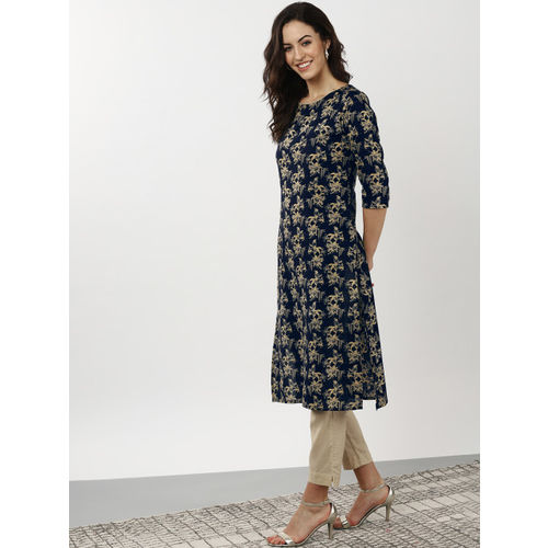 Sangria Women Navy Blue & Yellow Printed Straight Kurta