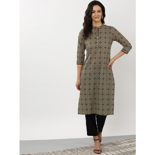 Sangria Women Beige & Brown Printed Straight Kurta