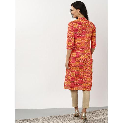 Sangria Women Pink & Orange Printed Straight Kurta