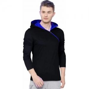 Redbrick Black and  Blue Cotton Zipper Hooded T-Shirt