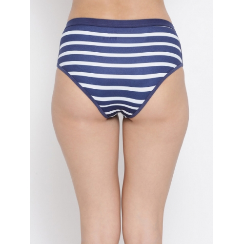 Clovia Women Blue & White Striped Hipster Brief PN3164P08S