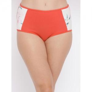 Clovia Women Orange & Off-White Solid Hipster Briefs PN3251P163XL