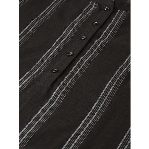 HERE&NOW Women Black & Grey Striped Straight Kurta