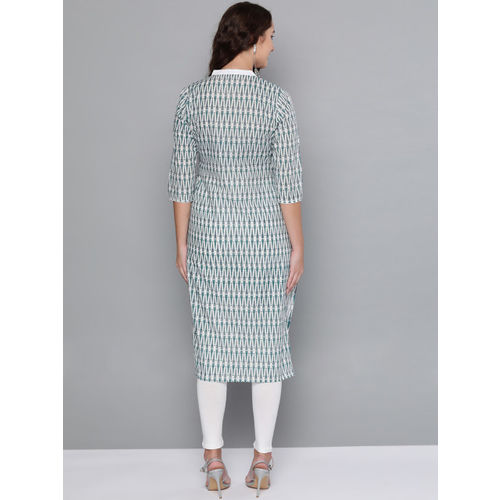 HERE&NOW Women White & Teal Blue Printed Straight Kurta with Leggings