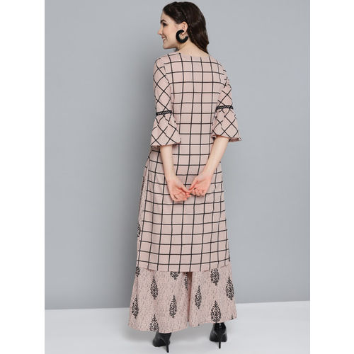 HERE&NOW Women Taupe & Black Checked Kurta with Palazzos