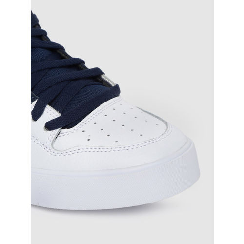 DC Men Navy Blue & White Colourblocked Leather Mid-Top Sneakers