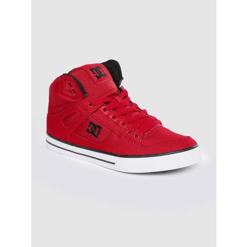 DC Men Red Solid Mid-Top Sneakers
