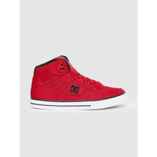 DC Men Red Solid Mid-Top Sneakers