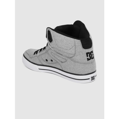 DC Men Grey Solid Mid-Top Sneakers