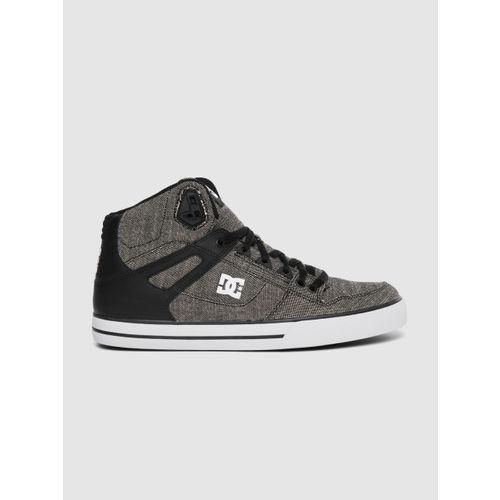 DC Men Black & Grey Solid Mid-Top Sneakers